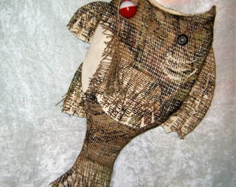 Christmas Stocking Burlap Fish Stocking with Hook - Hunters Mossy Oak Burlap and Muslin