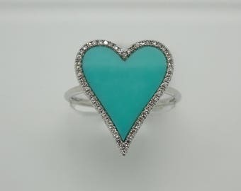 14K White Gold Diamond Turquoise Heart Ring