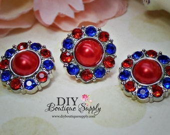 Pearl Rhinestone Buttons July 4th Fourth of July  Red, White Blue Acrylic Pearl Buttons Embellishments USA  Flower Centers 5pcs  25mm 588035