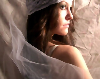 Couture White  Lace Bridal Cap with Detachable Illusion  Veil  CRBoggs Original