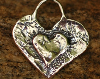 Layered Heart Charm in Sterling Silver, H-134