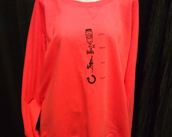 "2XL - Green or Pink - Off-Shoulder ""Coffee-Sleep-Pole-Repeat"" Sweater (Great for pole/yoga/fitness/workout/dance/casual/aerial arts)"