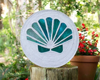 Teal Green Scallop Shell Stained Glass Stepping Stone #869