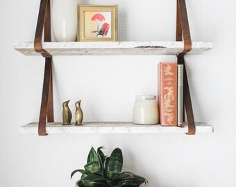 Hanging Lake Shelves - Reclaimed Wood Leather Strap Shelf