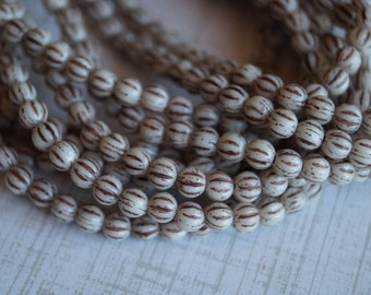 4mm Melon Round Beads - Ivory Brown Wash - Czech Glass Beads - 4mm Fluted Round Beads - Bead Soup Beads