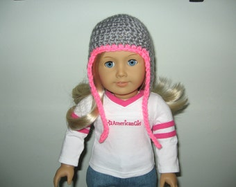 Ear Flap hat - Gray with Bright Pink trim - for American Girl Dolls and other 18 Inch dolls Also fits Bitty Baby