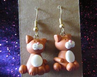 Ginger cat fimo earrings