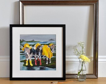 Fun Cow Print - Rainy Day Cows - Cows in Wellies - Nice Weather for Ducks - Charity Print for RABI - Animal Art - Gift for farmers