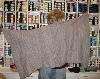 Hand-woven wool stole, hand knitted