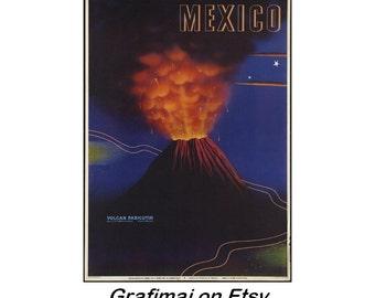 Instant Download - Vintage Travel Poster - Parícutin Volcano, Mexico, 1940's, Paricutin