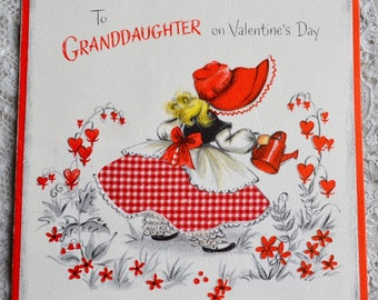 Vintage Valentines Day Card - Little Bonnet Girl Watering Heart Garden - Used Hallmark Granddaughter