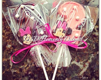 Chocolate Number Lollipops with Minnie Mouse
