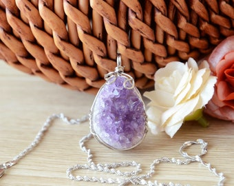 Purple Amethyst Necklace, Crystals Pendant,Natural Amethyst Cluster Jewelry For Women