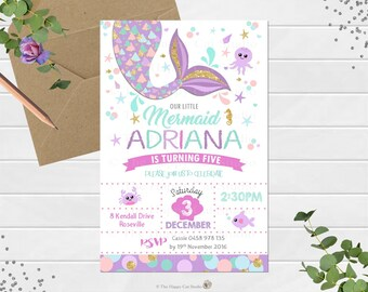 Mermaid Invitation, Personalized, Printable, 1st Birthday Party, Invites, Digital Print, Pool Party, Under the Sea, Girls Party, Gold Tail