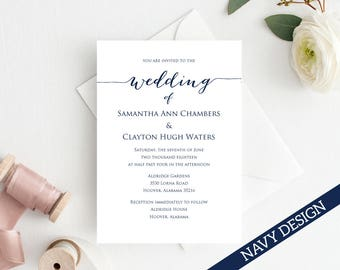 Wedding Invitation Template, Editable Wedding Template, DIY Wedding Printable, Personalized Invitation, Rustic Wedding Invitation