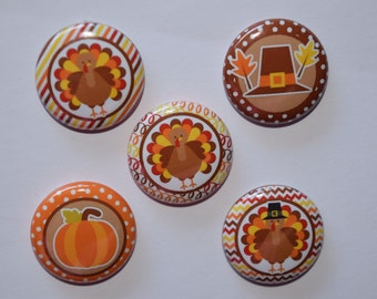 "Turkey buttons/ thanksgiving / pumpkin/ pilgrim / bottle cap /1"" buttons /flat back / pin / magnet / celebrate / giving/ hair bows/#49"