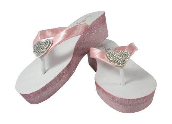Ivory Wedding Wedge Heels: Ombre Flip Flops Glitter Ivory Or White Wedge Heels Wedding