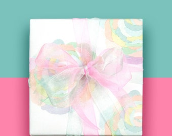 """Floral Gift Wrapping Paper, Gift Wrap, Wrapping Sheets, Wedding Gift Wrap,Illustrated paper - 19"""" x 27"""" per Roll – Saika"""