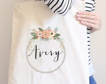 Floral Wreath with Name Personalized Tote Bag // Bridesmaid Flower Personalized Tote Bag Custom Bridesmaid Canvas Bag // Wedding Gift Tote