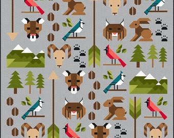 Forest Friends 2 Quilt Pattern, PDF, Instant Download, forest animals, cougar lynx bird woodland hunter mountain goat arrow modern patchwork