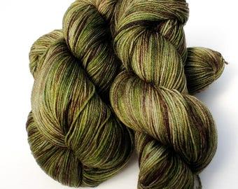 Olivewood Colorway: 100 grams Handdyed Merino/Tencel/Nylon Fingering Weight Yarn, Hand Dyed Sock Yarn