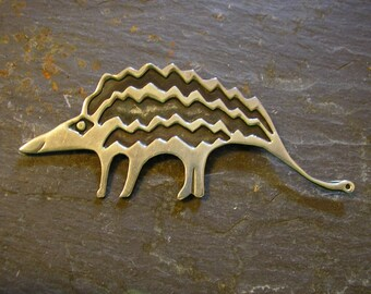 ARMADILLO Pin Brooch, pair, Handmade, Tribal Stampwork, Original & FUN! item A9