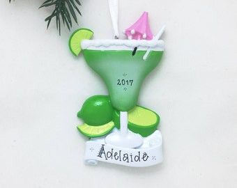 Margarita with Salt Personalized Christmas Ornament / Frozen Margarita / Happy Hour / Girls Night / Hand Personalized