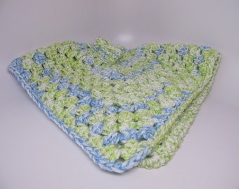 Poncho infant sized crocheted blue and green