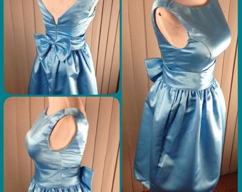 Blue bridesmaid dress, 50s vintage inspired dress, Audrey Hepburn dress - Clearance