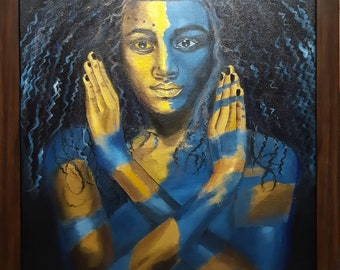 Original Handmade Paintings On Canvas - BLUE AND GOLD