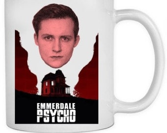 Psycho inspired Emmerdale Mug featuring Lachlan!