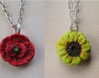 Flower polymer clay charm necklace