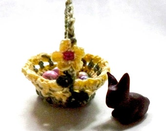 A Tisket A Tasket A Green and Yellow Basket Dollhouse Miniature
