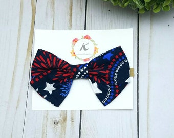 4th of july bow, firework headband, hand tied bow, sailor bow, blue star bow, nylon headband, baby headband, america bow, america headband