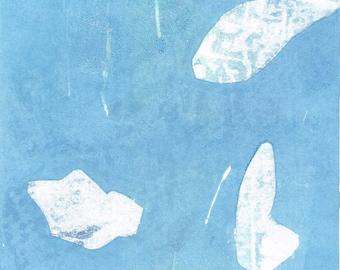 "Original image, Monotype ""Nordic Emotion 2"", sheet size din A4, motif size 15 x 20 cm, abstract landscape"