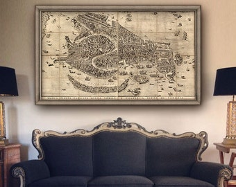 """Map of Venice 1729, Vintage Venice map in 5 sizes up to 63x36"""" (160x90 cm) large wall map of Venezia Italy - Limited Edition of 100"""