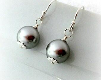 Pearl Grey Earrings On Sterling Silver Hooks - Classic Pearl Earrings