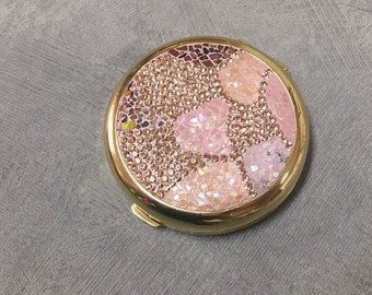 Mother-of-pearl mirror, crystal mirror, pink mirror, gift for her, gift for mom, pink hand mirror, pink pocket mirror, crystal hand mirror