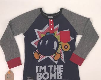 Size 12 - UpCycled Long Sleeve Henley Tes with Pocket - Bob omb