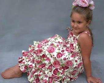 Floral girls dress, Ruffled girls dress, First birthday dress, Floral summer dress, Country rose birthday outfit, Floral tea party