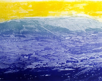 Yorkshire landscape wall art, Ingleborough art print, Yorkshire three peaks original linocut, mountain art, dark blue yellow abstract art