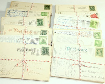 SALE Postcard Craft Pack - 25 Postmarked, Stamped and Written on Postcards - 1900-1950s