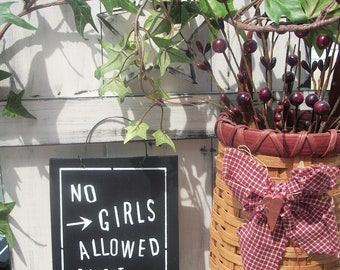 No GIRLS ALLOWED Except MOMMY .Kids,boys room sign, door sign