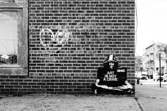 Nyc photography street art black white fine art print new york city urban large wall art prints nyc wall decor graffiti brick wall