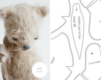 PDF Sewing Pattern & Tutorial Mohair Fox 6 Inches Stuffed Animal Pattern Stuffed Fox Pattern Artist Teddy Bear Pattern For Woman Soft Toys