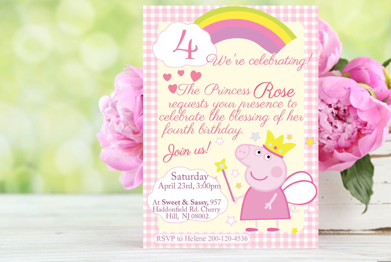 Customizable Peppa Pig princess pink invitation printable