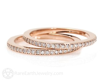 Diamond Wedding Bands Set of 2 Diamond Wedding Rings 14K or 18K Gold Anniversary Bands Diamond Rings Stacking Rings