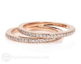 Diamond Wedding Bands Set of 2 Diamond Wedding Rings 14K or 18K Gold Anniversary Bands Diamond Rings Stacking Rings