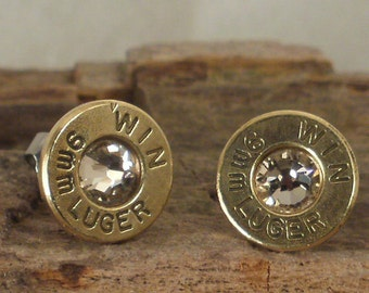 Bullet  Earrings  - Stud Earrings - Ultra Thin - 9mm Luger - Crystal