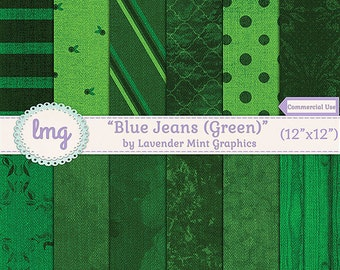 Green Blue Jean Denim Digital Scrapbooking Paper - Denim Digital Paper, Denim Backgrounds, Denim Textures - Instant Download, Commercial Use